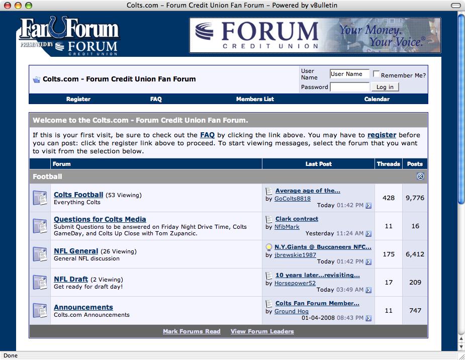 FORUM Fan Forum website