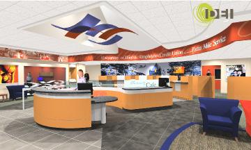 Credit union adds third branch with nice design Illinois state university interior design