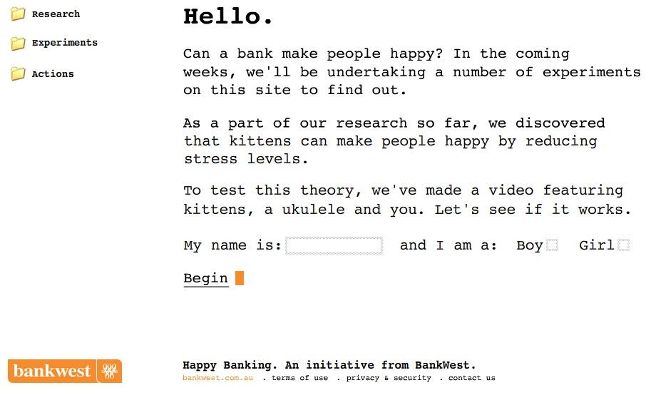 Bank Happy website