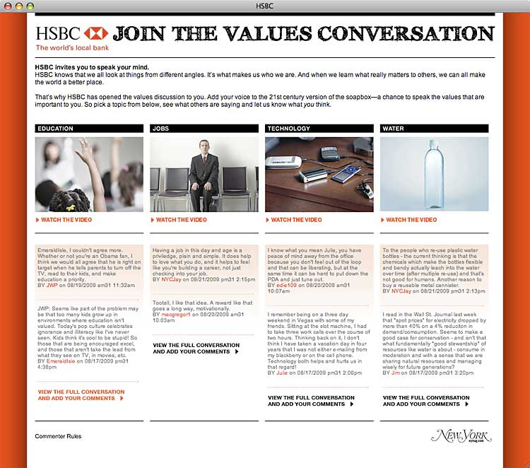 HSBC Microsite: 'Join the Values Conversation'