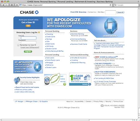 Chase Screws Up PR Royally After Website Fails