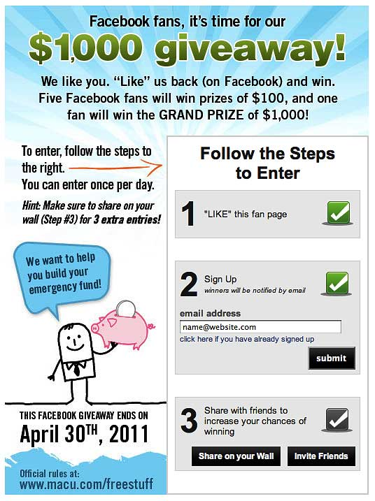 9 Promotions Building Facebook Fans For Financial Institutions
