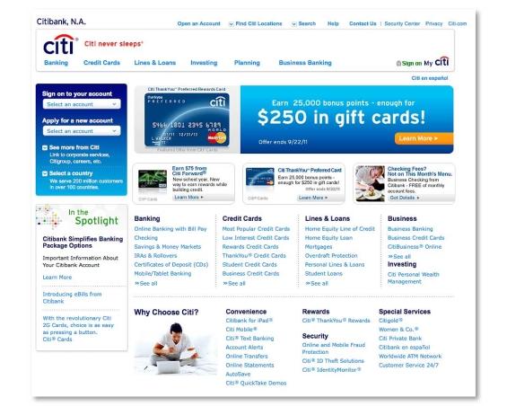 Citibank Account Online >> Citibank Com S Extreme Website Makeover