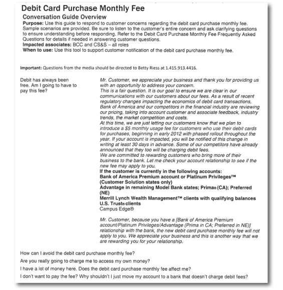 Bofas 5 monthly debit fee the backlash the fallout and what it scripted responses this internal training document circulating the internet explains how bofa staff should answer questions about the 5 fee colourmoves