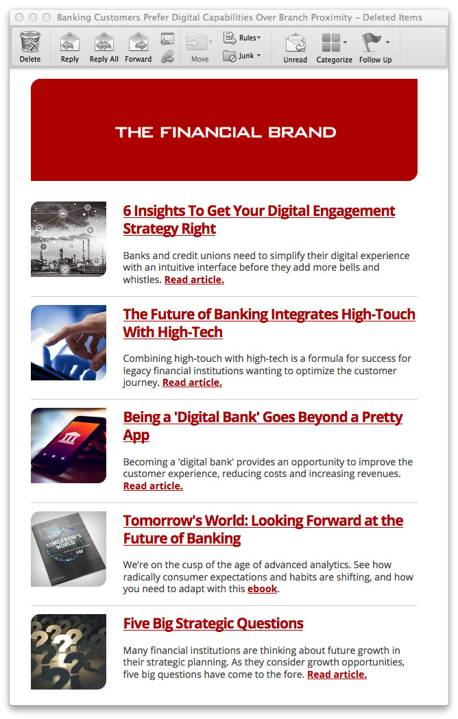 The Financial Brand  Edigest Email Newsletter Ads