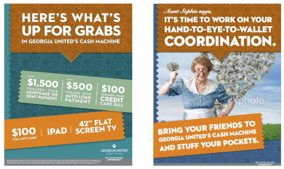 georgia_united_credit_union_aunt_sophie_cash_prize_booth_posters