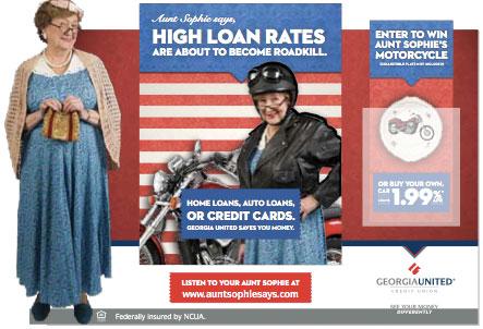 georgia_united_credit_union_aunt_sophie_motorcyle_promo_display