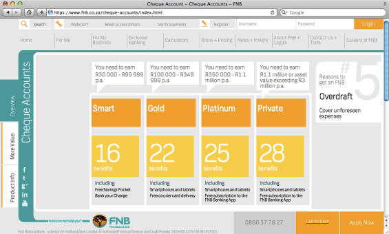 fnb_website_checking_account_product_matrix