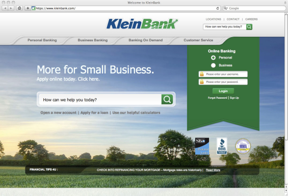 30 gorgeous and simple banking websites for Kleine bank