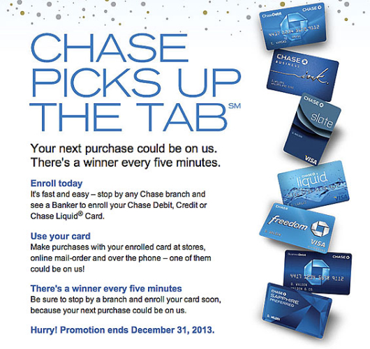 chase picks up the tab