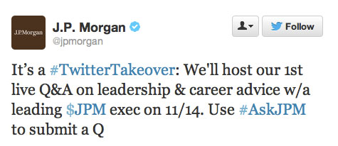 jpmorgan_twitter_launch_tweet