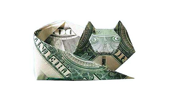 origami_money_curled_cat