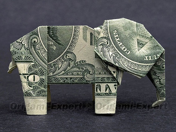 Dollar Bill Origami Elephant Folding Guide - The Daily Dabble | 424x565