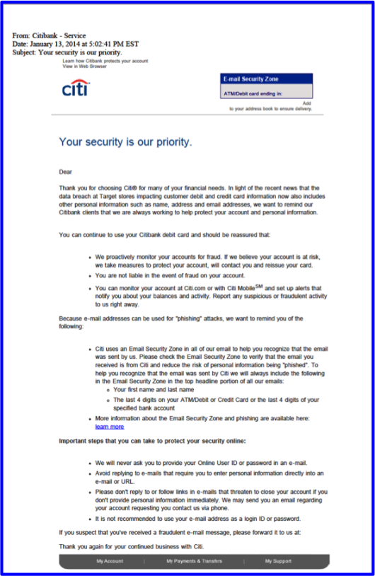 bank letters to customers