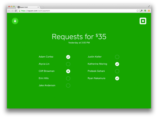 Square Cash Request Status Page