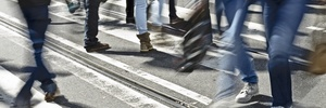 Pedestrians walking on a street