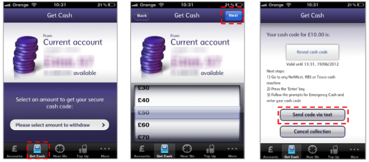 RBS and NatWest allow customers to withdrawal cash with their mobile device at affiliated ATMs.