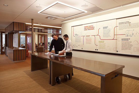 "A standing Collaboration Space was designed for casual staff and client meetings that rolls away for seminars, events and community meetings from 10 to 45 people. The white board opens to an 80"" monitor and drop down LCD projector."