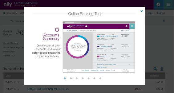 online banking tour