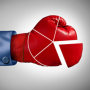 Competition market share loss business concept as a red boxing glove shaped as a financial pie chart diagram as a symbol for losing economic competitiveness.