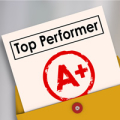Top Performer and letter grade A Plus stamped on it to illustrat