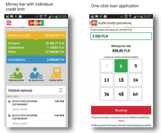 mBank One-click loan application