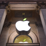GLASGOW, UNITED KINGDOM - APRIL 22: The Apple Store logo leaf is turned green in Buchanan Street for Earth Day on April 22, 2015 in Glasgow, Scotland. (Photo by Martin Grimes/Getty Images for Apple)