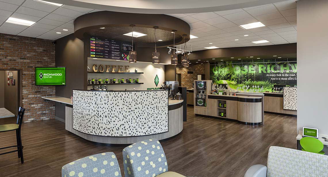 Richwood bank branch cafe the financial brand for Bank designs architecture