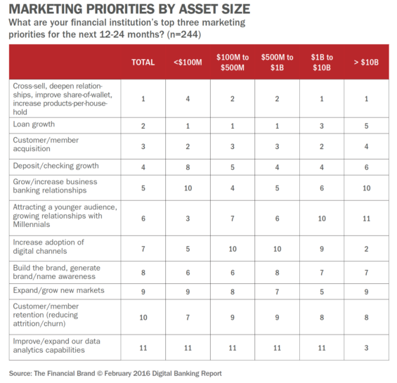 Marketing Priorities by Asset Size
