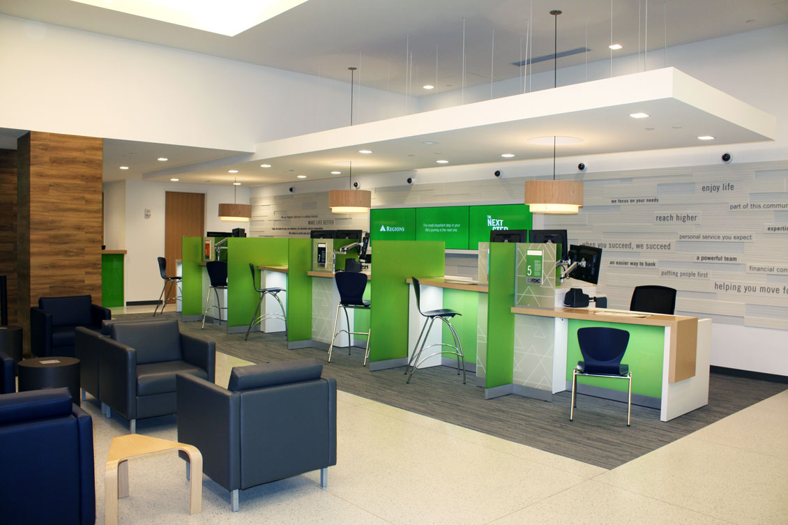 Regions bank branch tellers the financial brand for Bank designs architecture