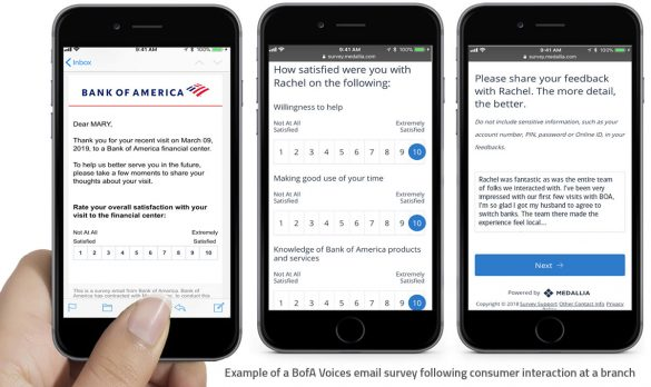 Bank of America Voices email survey example