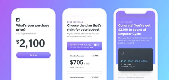 Square instant financing interface