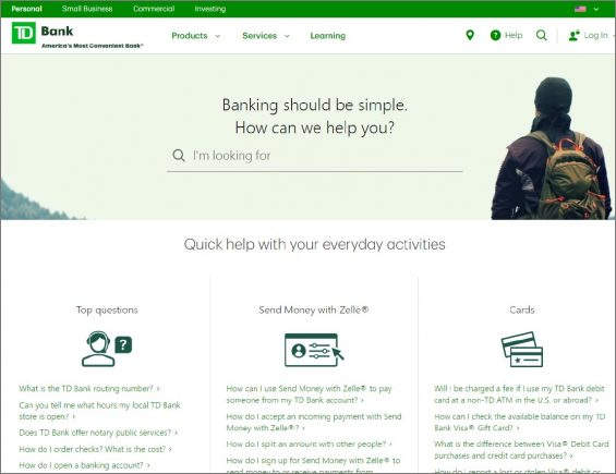 TD bank page