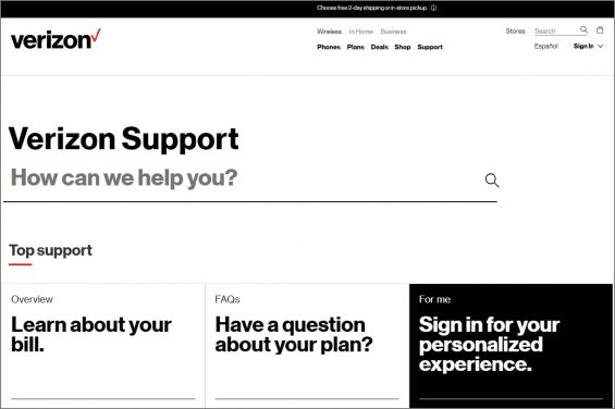 verizon help page