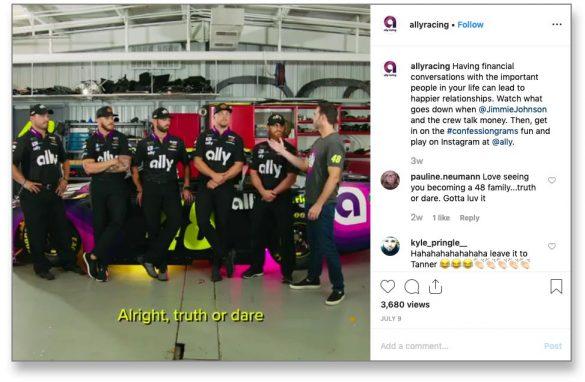 Ally Bank Instagram race team