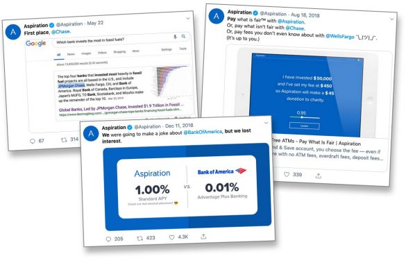 Aspiration tweets calling out banks