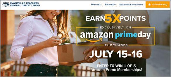 ETFCU 5x points Amazon Prime