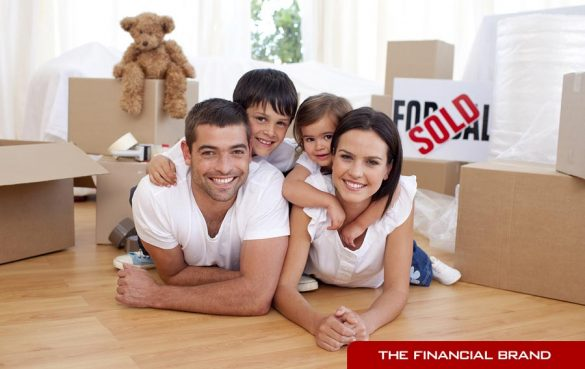 Bad stock photography of family buying home
