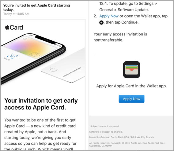 Apple Card email invite