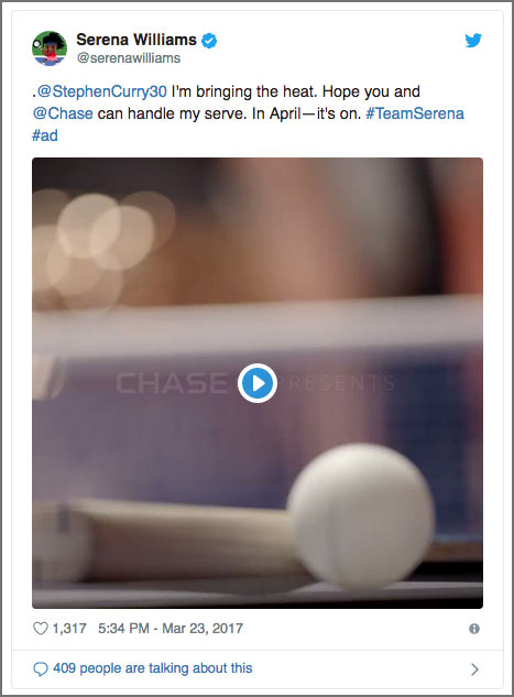 Serena Williams Chase tweet