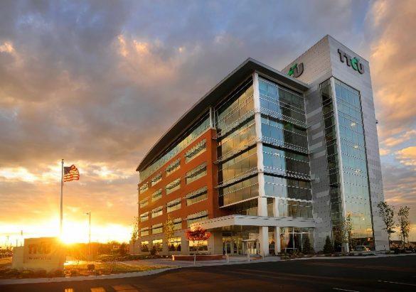TTCU exterior sunset green building