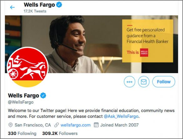 Wells Fargo twitter welcome page