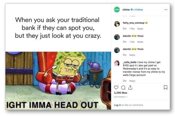 Chime Bank Instagram spongebob meme