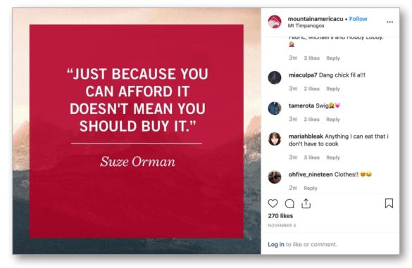 Mountain America Suze Orman Instagram Quote