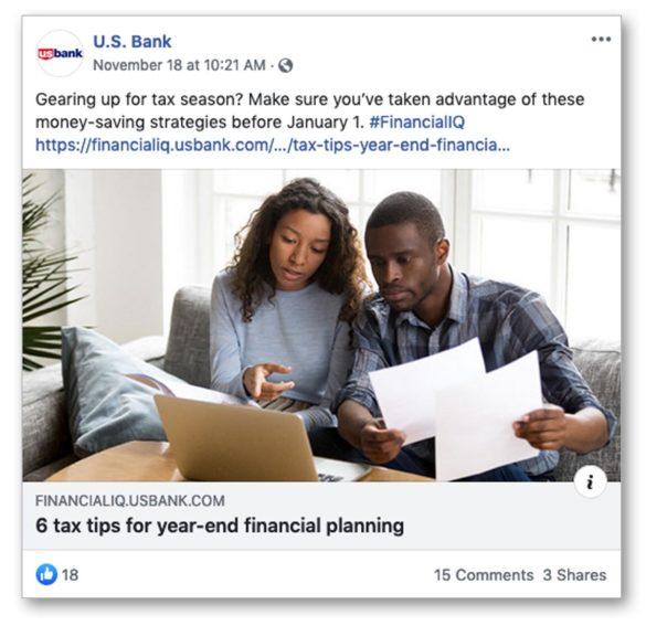 US Bank taxes Facebook