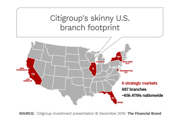 Citigroup skinny united states branch footprint