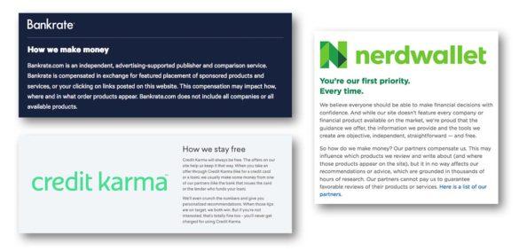 Banking comparison site disclosures
