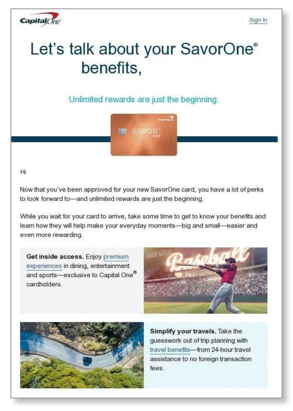 Capital One email campain
