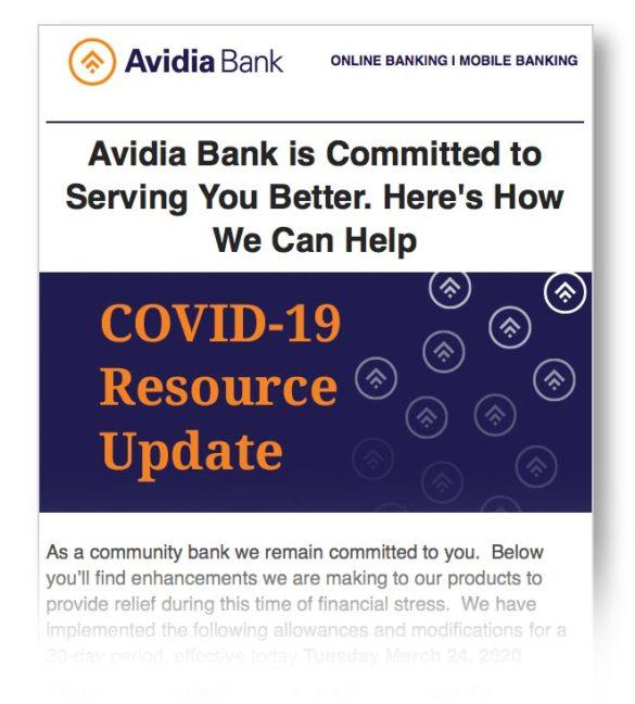 Coronavirus email communication Avidia