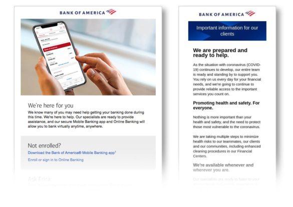 Coronavirus email communication Bank of Amarica